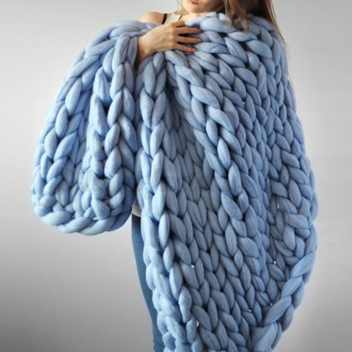 Large Soft Warm Hand Chunky Knit Blanket Thick Yarn Wool