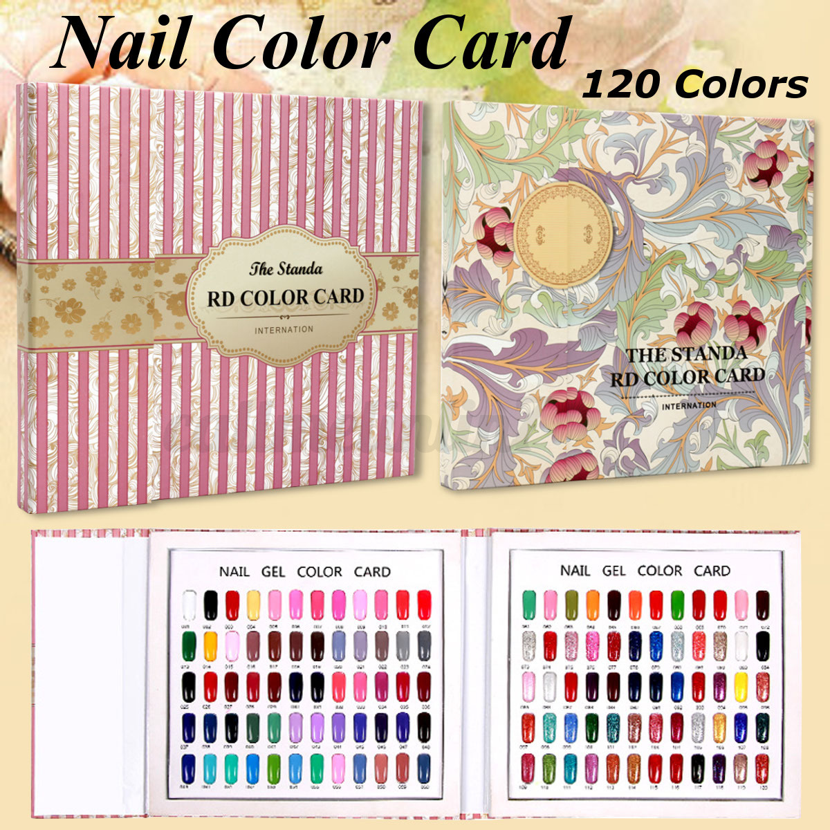 120 Nail Tips Flower Colour Chart Display Book For UV/LED Gel Polish ...