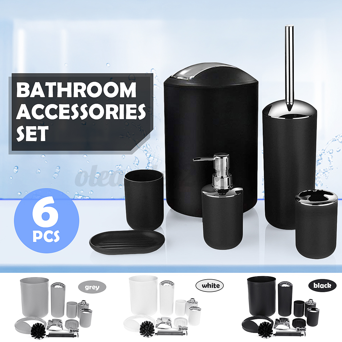 6Pcs Bathroom Accessories Set Toothbrush Holder Soap Dispens
