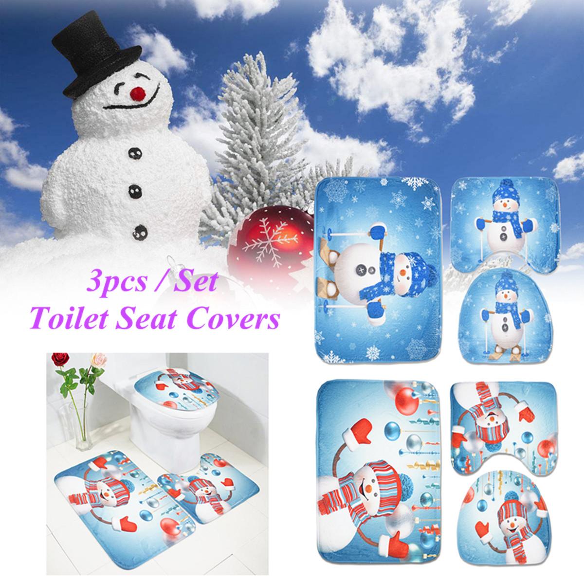 Excellent Details About 3Pcs Set Christmas Snowman Toilet Seat Covers Bathroom Mat Rug Xmas Decorations Cjindustries Chair Design For Home Cjindustriesco