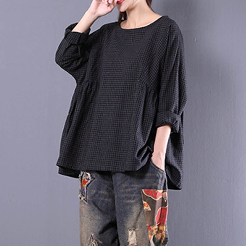 Women-Casual-Check-Plaid-Pullover-Tunic-Top-Tee-Shirt-Peasant-Plus-Size-Blouse
