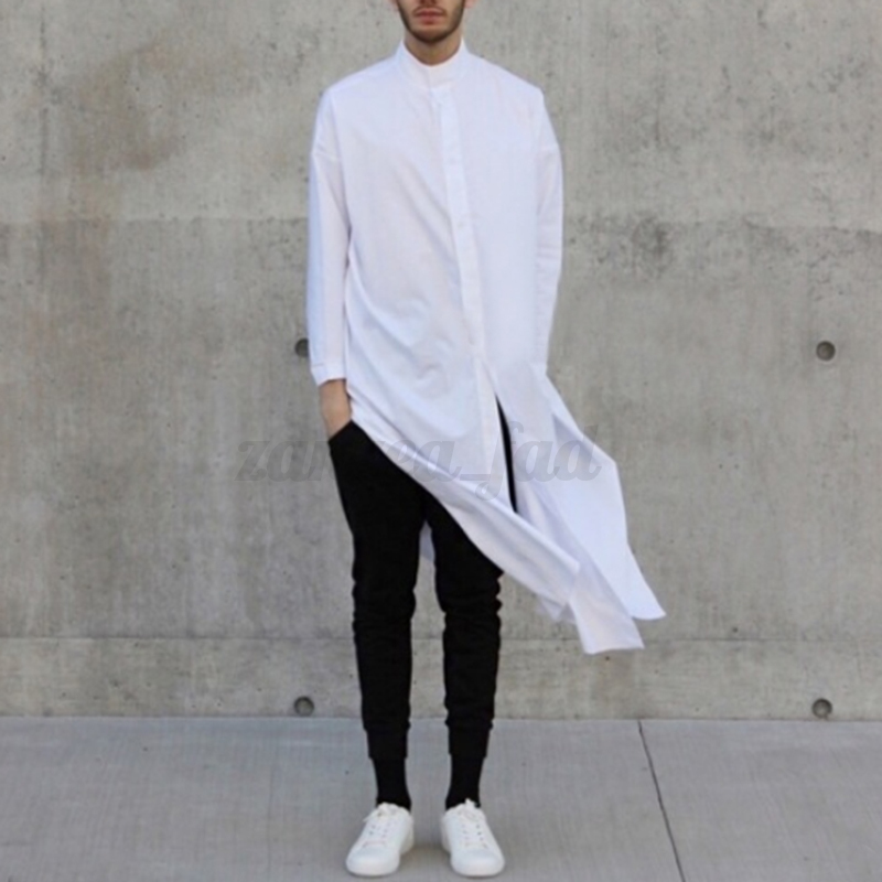 Fashion-Men-039-s-Asymmetric-Longline-T-shirt-Tee-Long-Sleeve-Tops-Formal-Shirt-Tops thumbnail 2