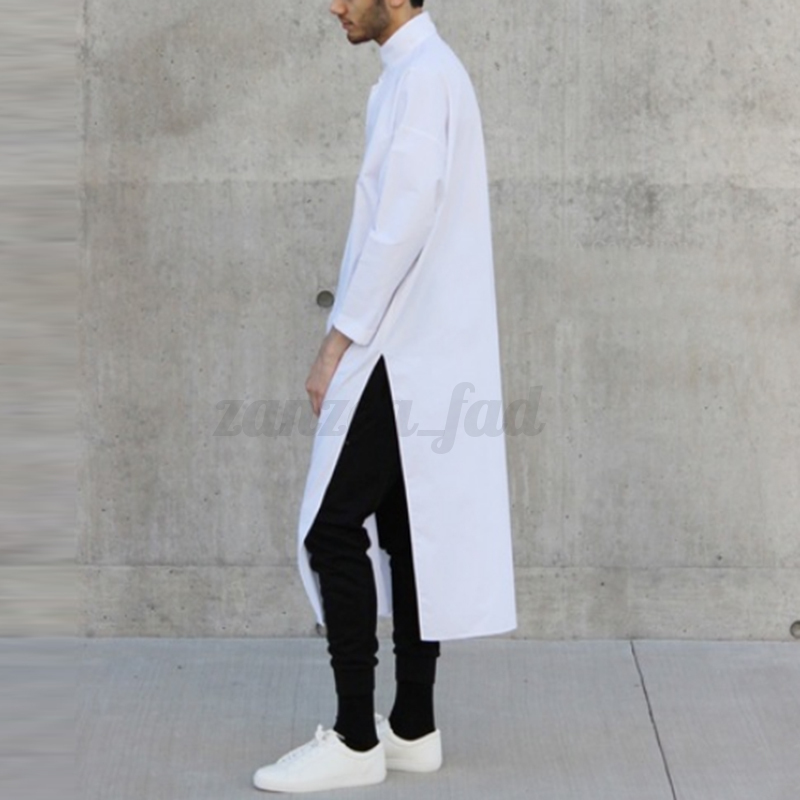 Fashion-Men-039-s-Asymmetric-Longline-T-shirt-Tee-Long-Sleeve-Tops-Formal-Shirt-Tops thumbnail 3