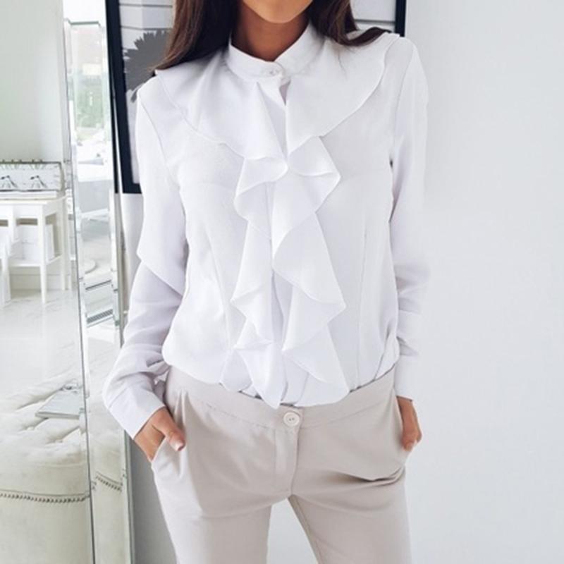 Women Ruffled Frill V Neck Shirt Blouse Ladies Polka Dot Long Sleeve OL Work Top