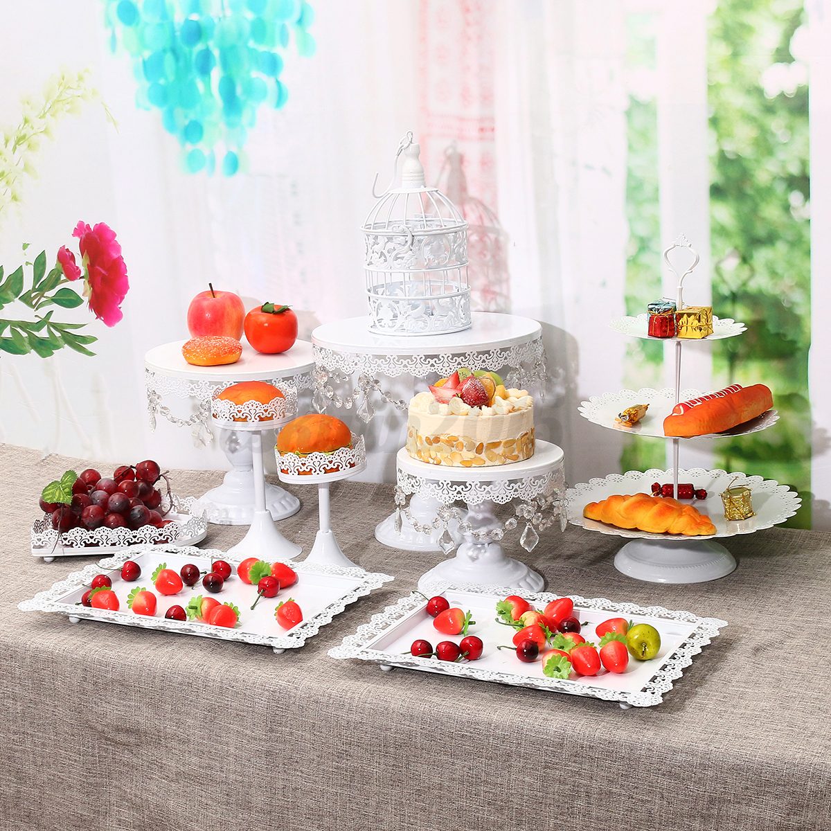 11pcs/Set Crystal White Gold Cake Holder Cupcake Stand Wedding ...
