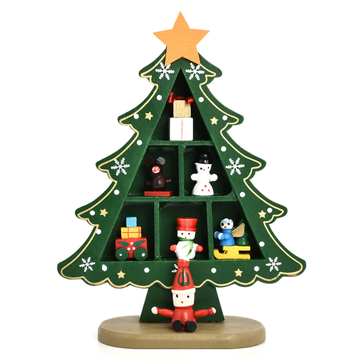 Mini Wooden Christmas Tree Desk Table Top Decorations