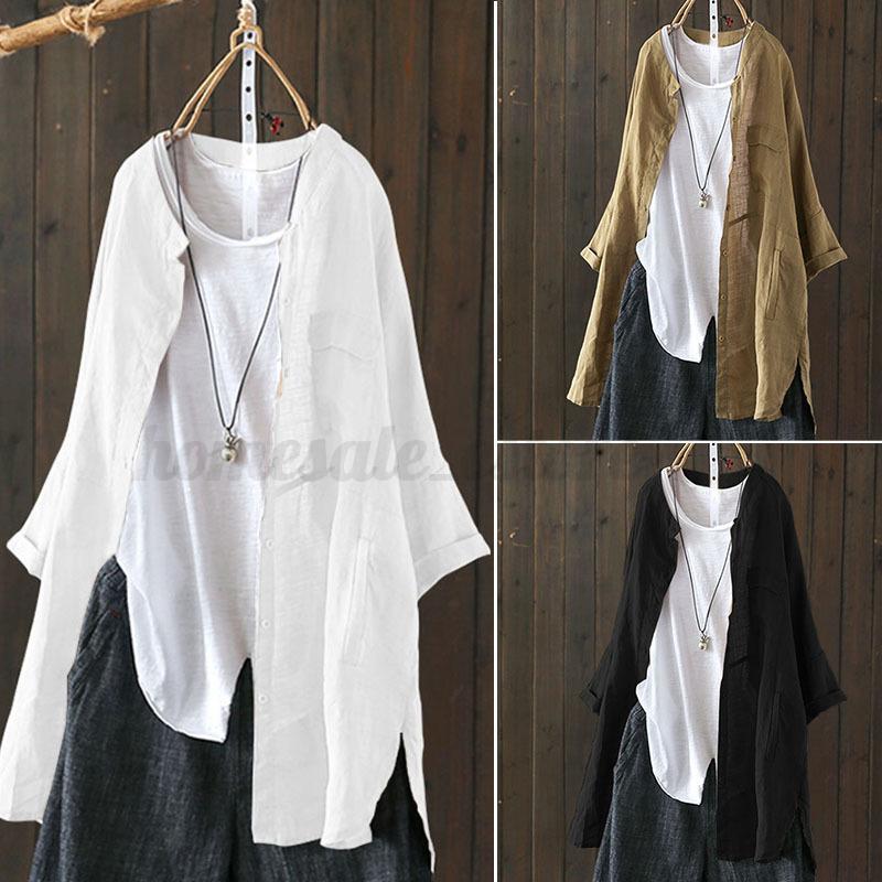 8471037304da55 Women s Stand Collar Casual Long Shirt Tops Asymmetrical Hem Split ...