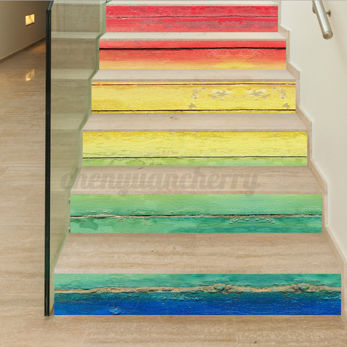 3d 6pcs stair stickers risers decoration photo mural vinyl for Ebay 3d wallpaper