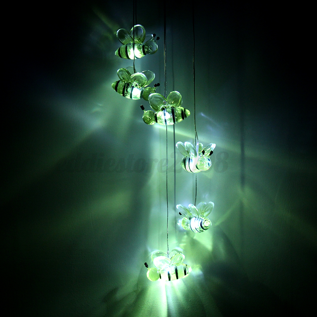 Solar Power LED Color Changing Bee Wind Chimes Light Lamp Home ...
