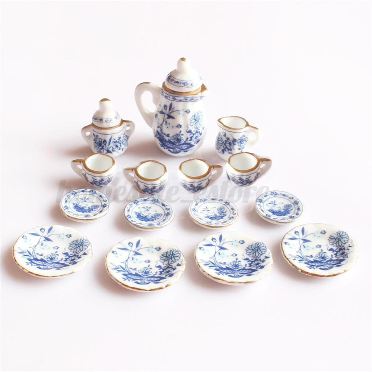 15PCS Dollhouse Miniature 1/12 Dining Blue Floral Ceramic