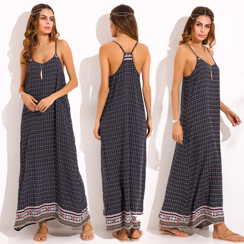 Boho Women Summer Beach Long Maxi Dress Floral Print Sundress Plus