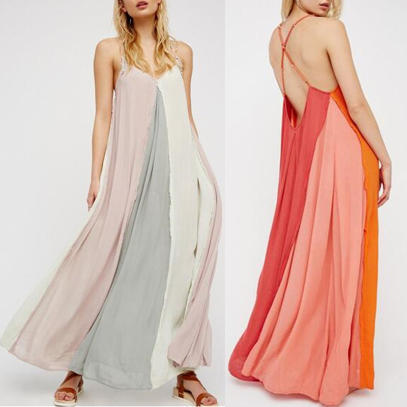 e923918c3776 Women Summer Strappy Boho Long Maxi Dress Evening Party Cocktail ...