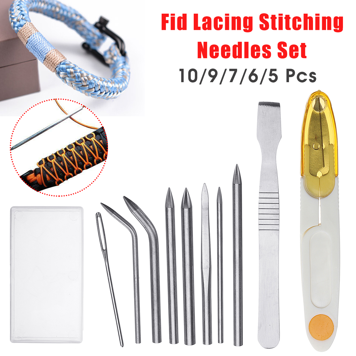 Paracord Bracelet Stainless Steel FID Lacing Stitching Re Creative Set Need F5X3