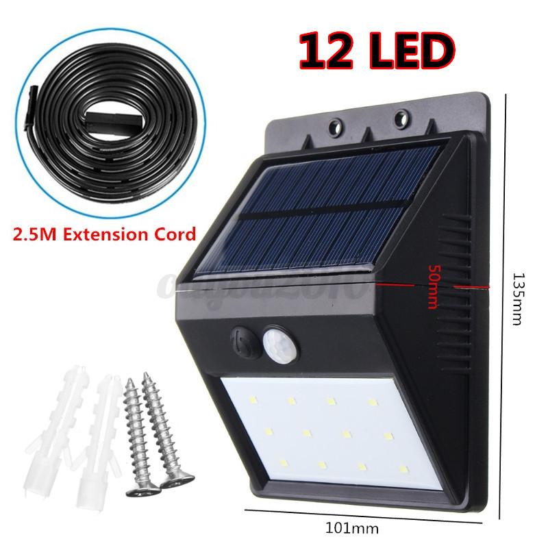6-28 LED Solar Power PIR Motion Sensor Wall Light Outdoor Garden Lamp 2.5M Cord eBay