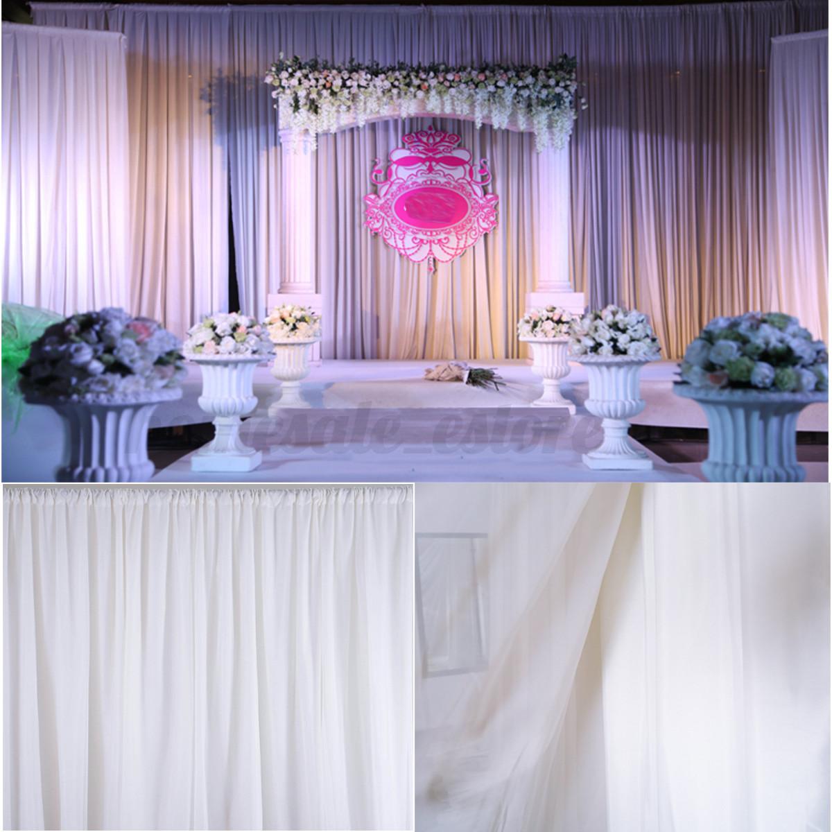 Wedding White Event: 2.4M White Wedding Party Backdrop Curtain Drapes