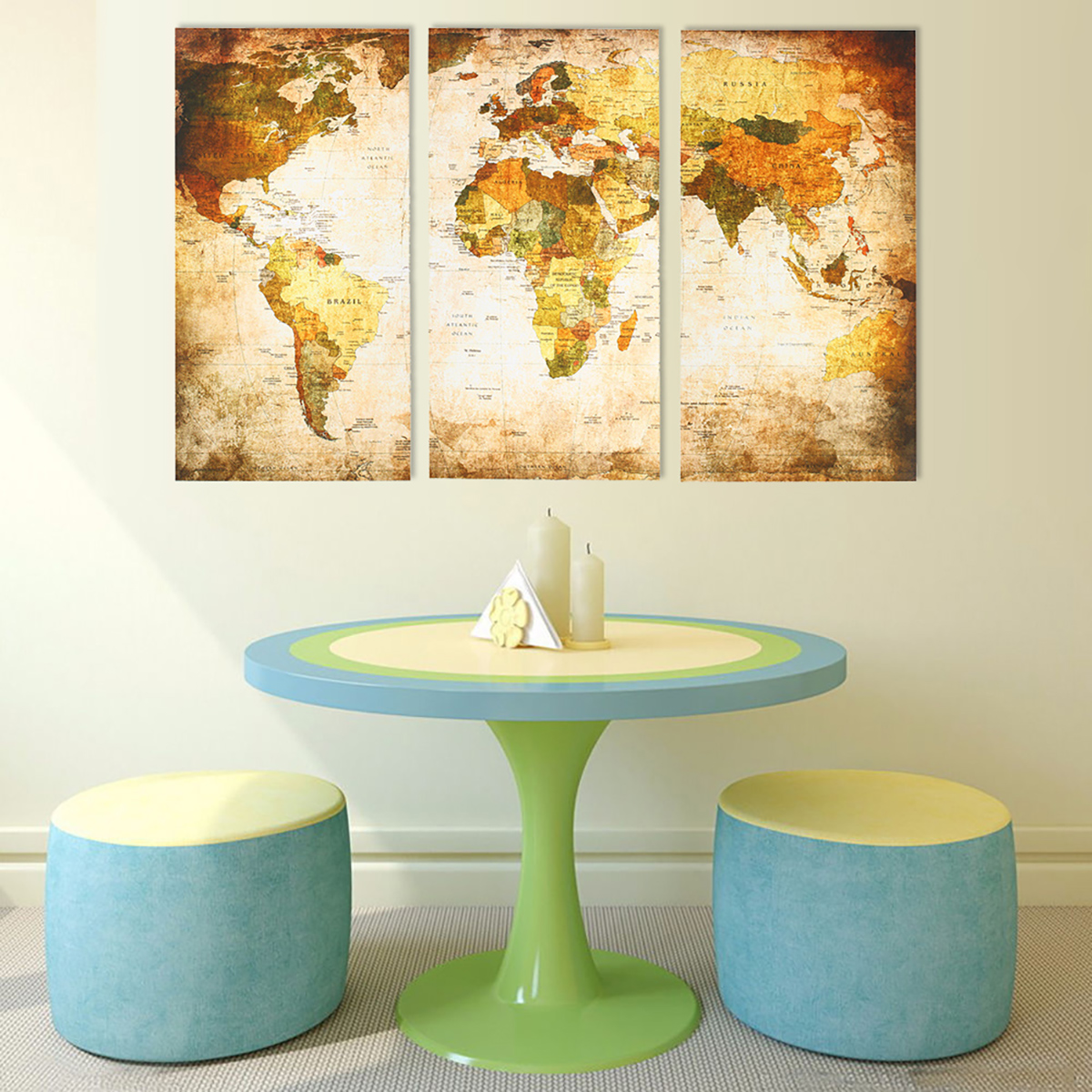 3pcs Canvas Print Panel Vintage World Map Painting Wall Art Home ...