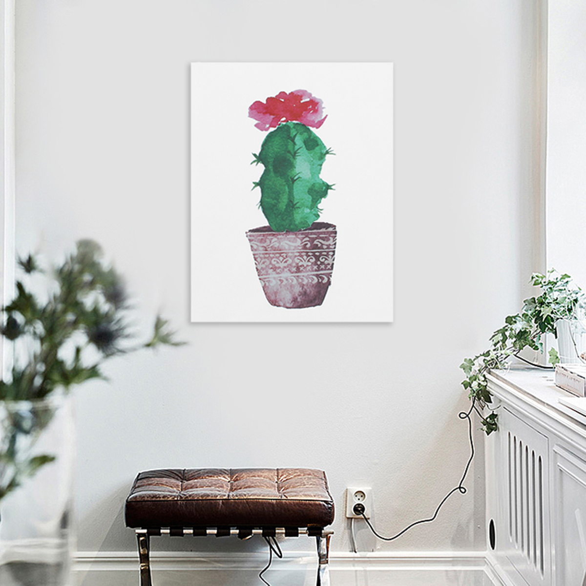 Nice Watercolor Canvas Cactus Painting Print Picture Modern Home