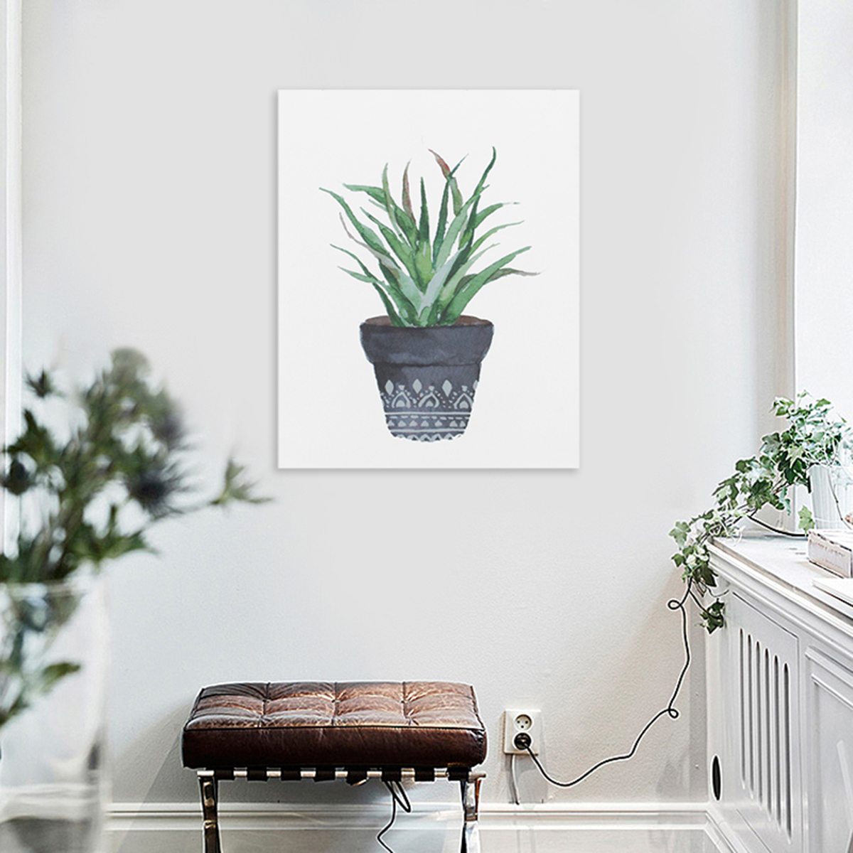 watercolor canvas cactus painting print picture modern home wall art