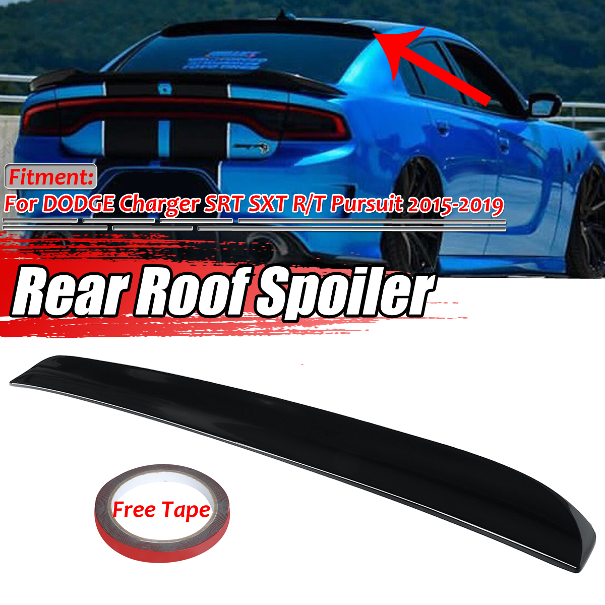 Unpainted For 2015 2016 2017 2018 2019 DODGE CHARGER Rear Window Roof Spoiler