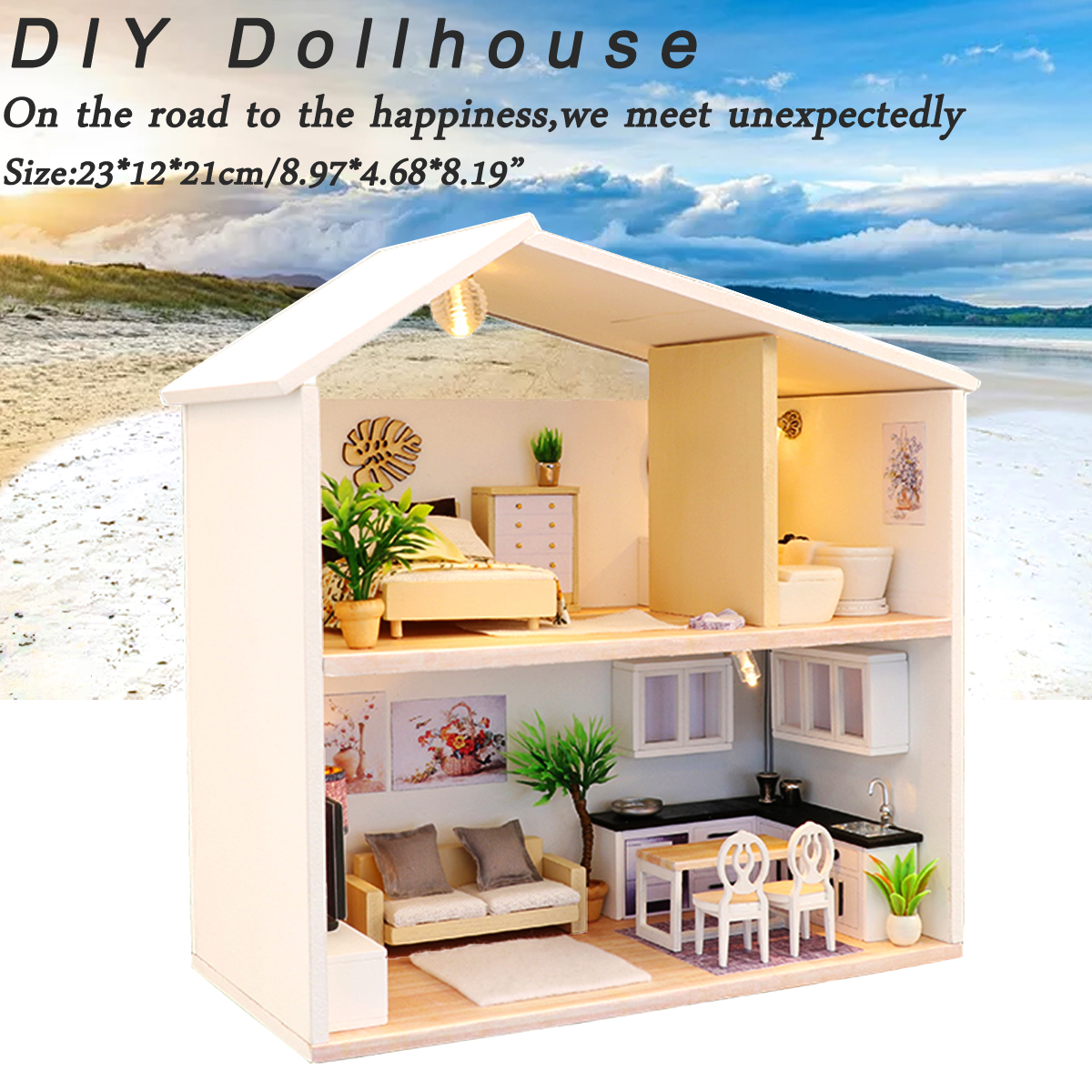 Details about diy miniature kit wooden toy model doll house modern house kid gift w led light