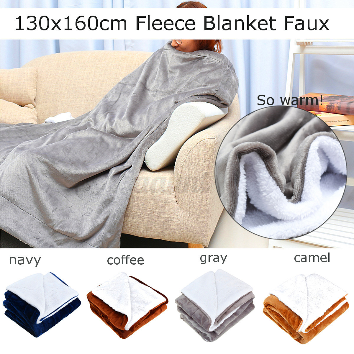 Flannel Soft Warm Plush Blanket Sherpa Throws Rug Sofa Bedding Double King