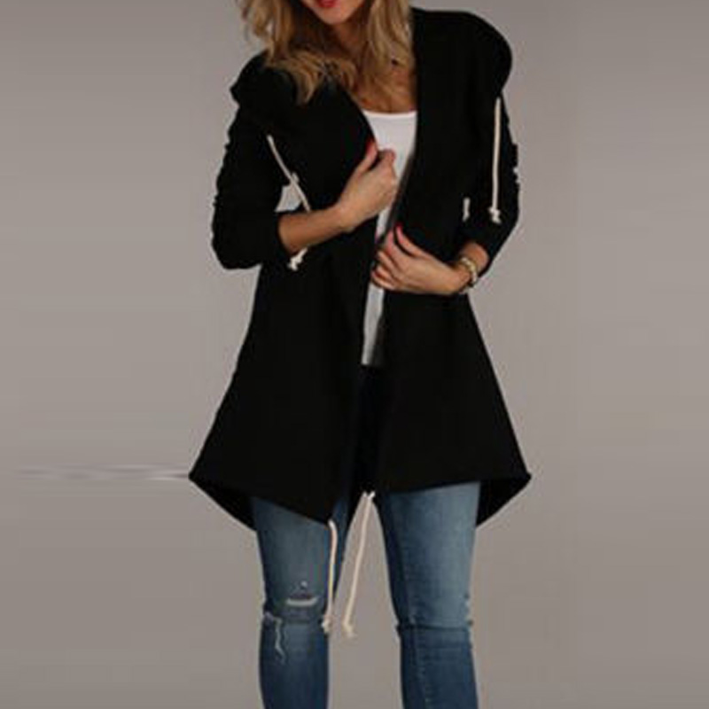 Ladies Coat Women Long Sleeve Pockets Split Drawstring Hoodies Casual Cardigan