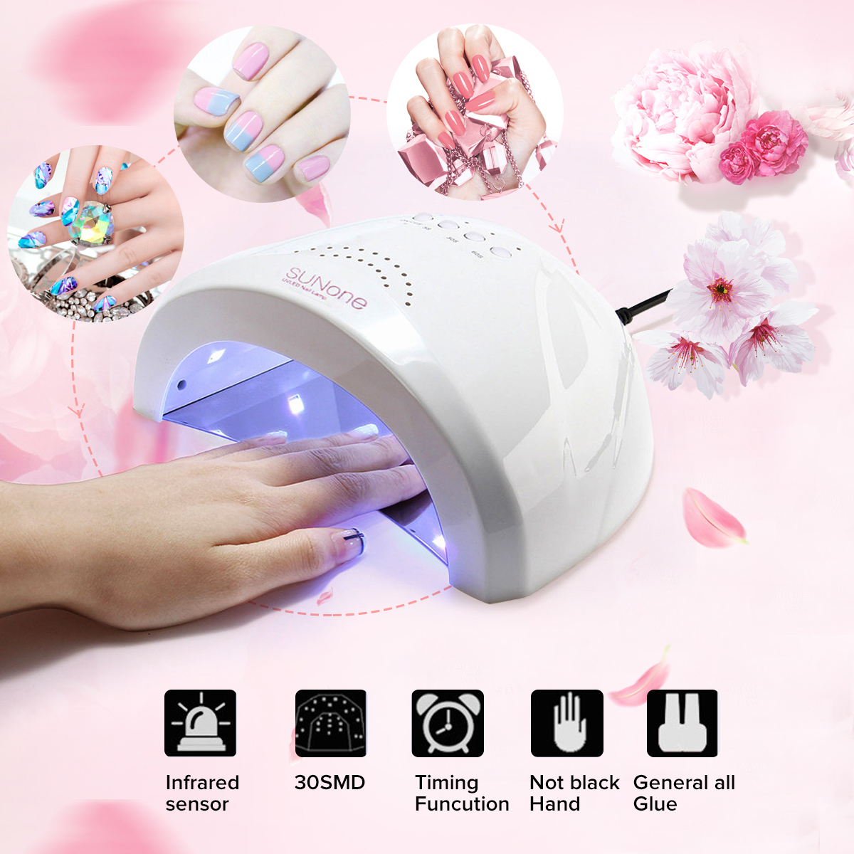 Details About 48w Sunone Led Uv Nail Lamp Nail Dryer Gel Polish Cure Manicure Machine 3 Timer