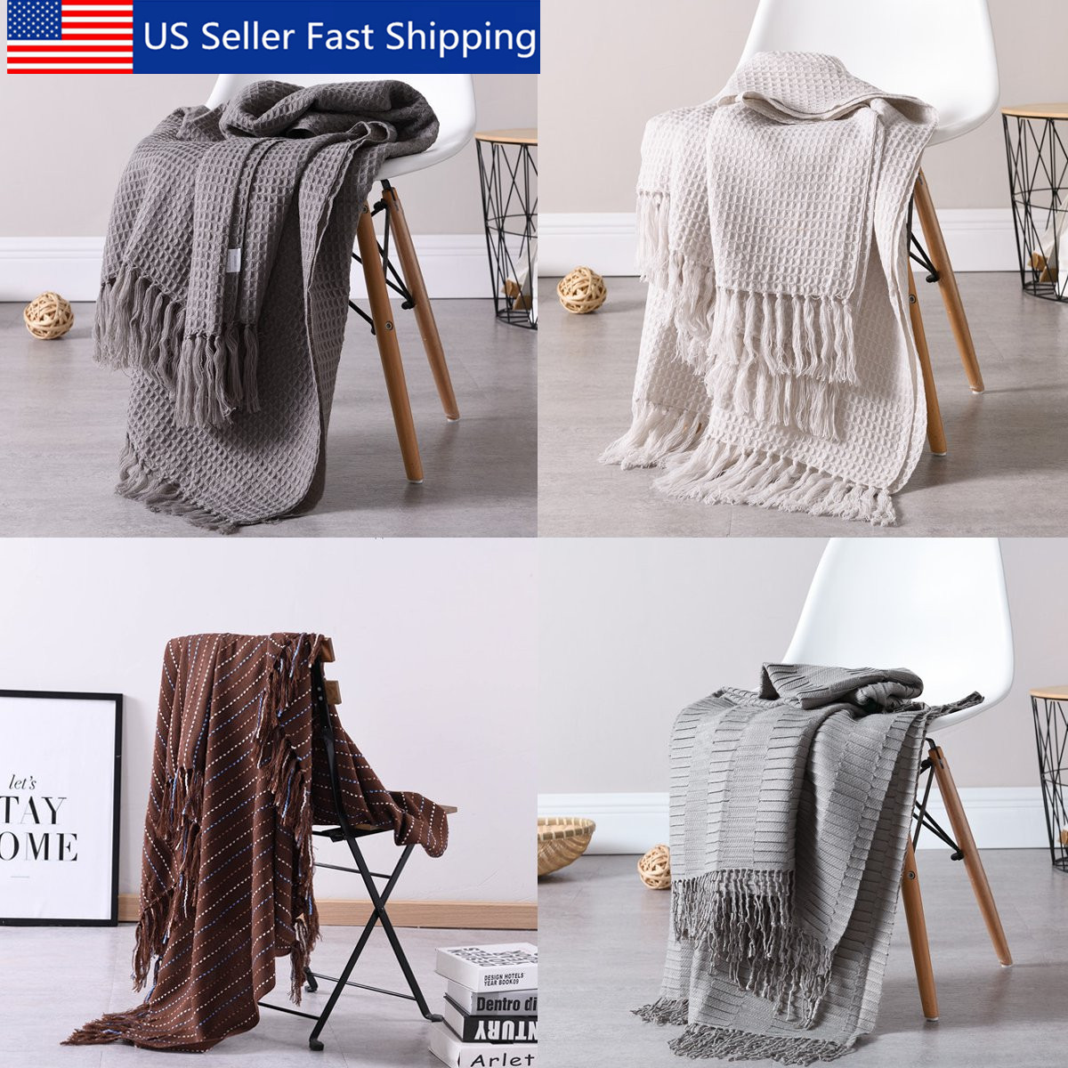 51x63 soft knitted throw blanket bed sofa