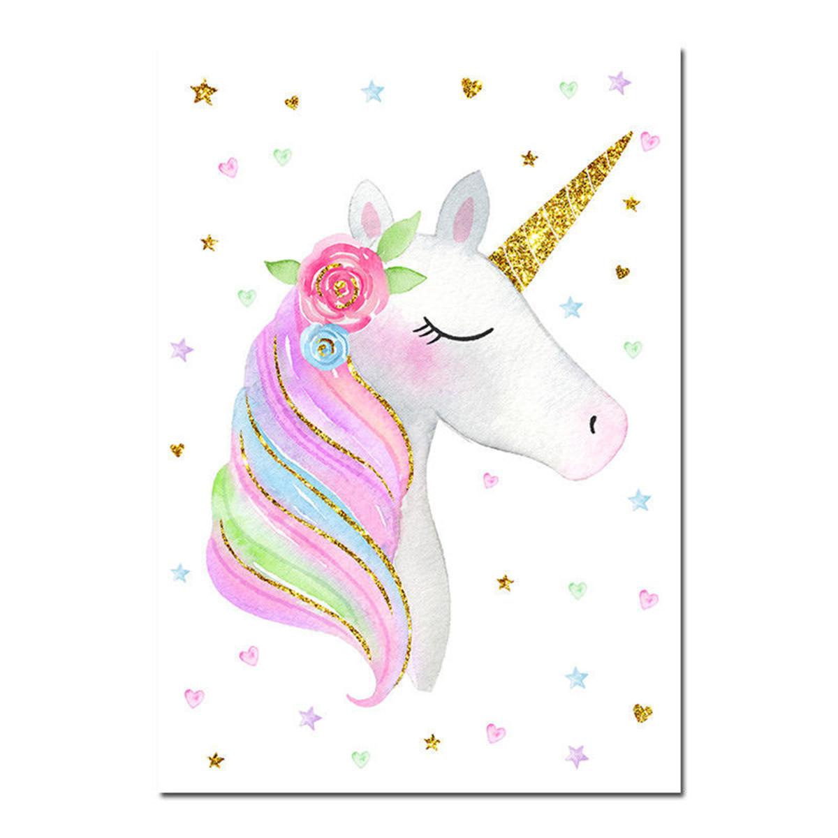 Cute Rainbow Unicorn Canvas Poster Nursery Wall Art Print