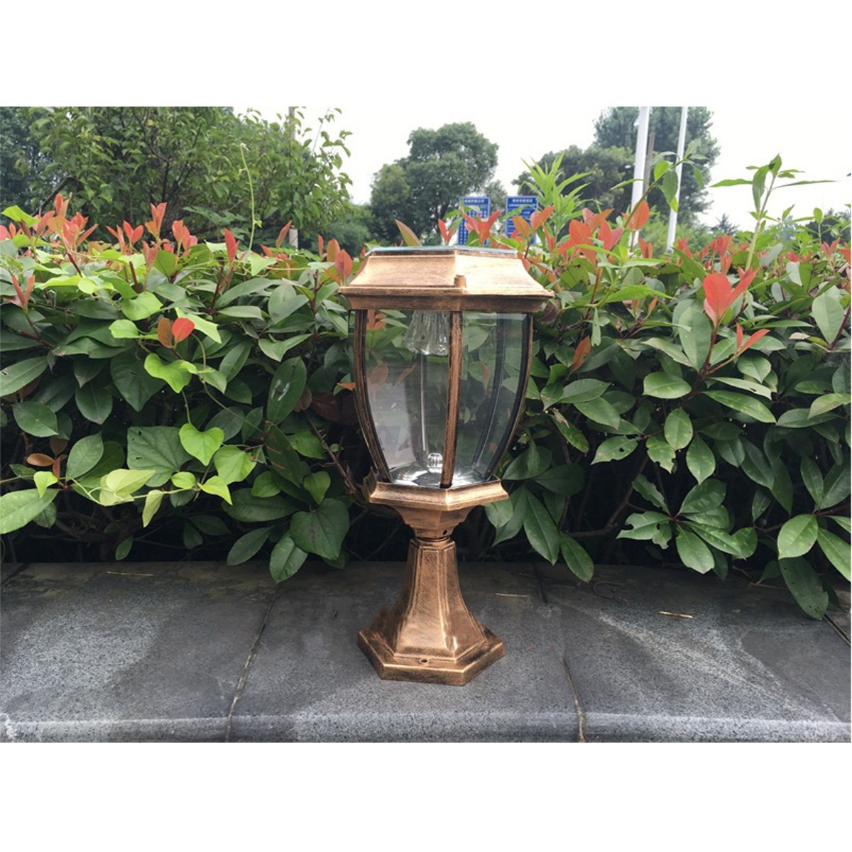 2x outdoor exterior solar powered led pillar light post lamp garden yard lantern ebay for Solar exterior post lantern light
