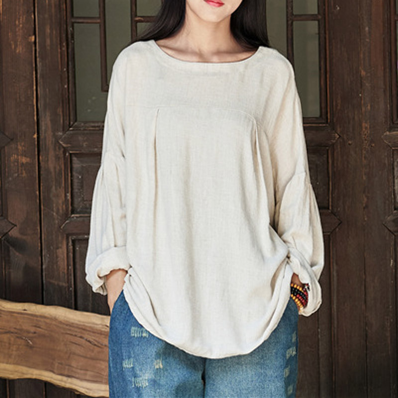 ZANZEA-10-24-Women-Summer-Long-Sleeve-Shirt-Pullover-Blouse-Plus-Size-Cotton-Top