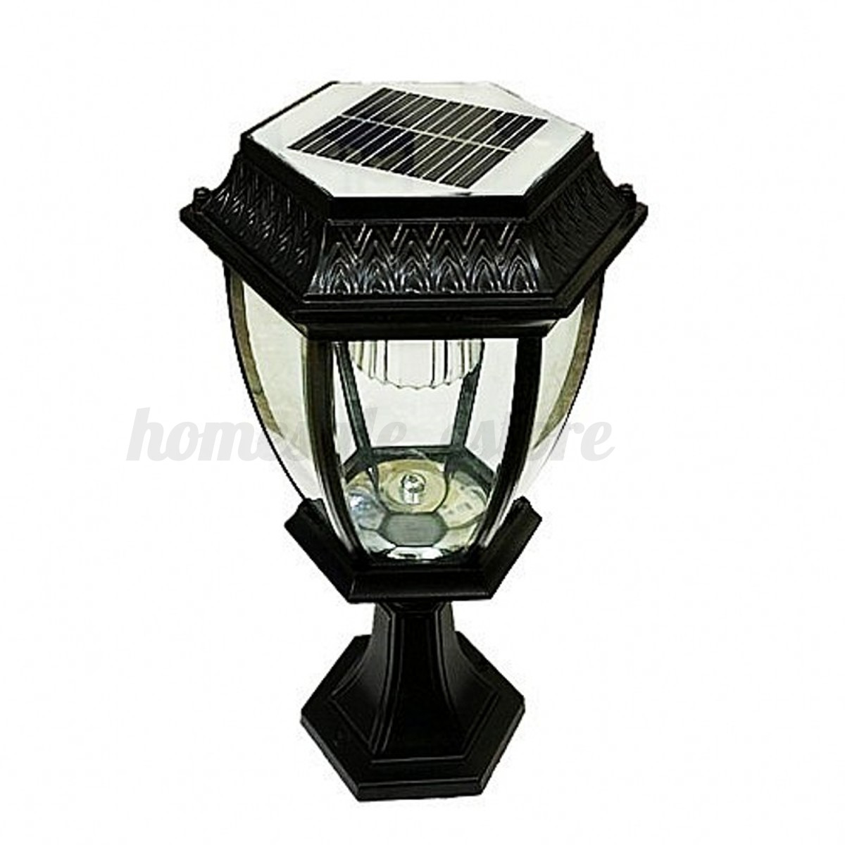 Outdoor exterior solar powered led pillar light post lamp garden yard lantern ebay for Solar exterior post lantern light