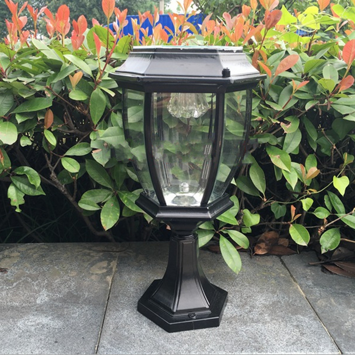 Outdoor exterior solar powered led pillar light post lamp garden yard lantern us ebay for Solar exterior post lantern light