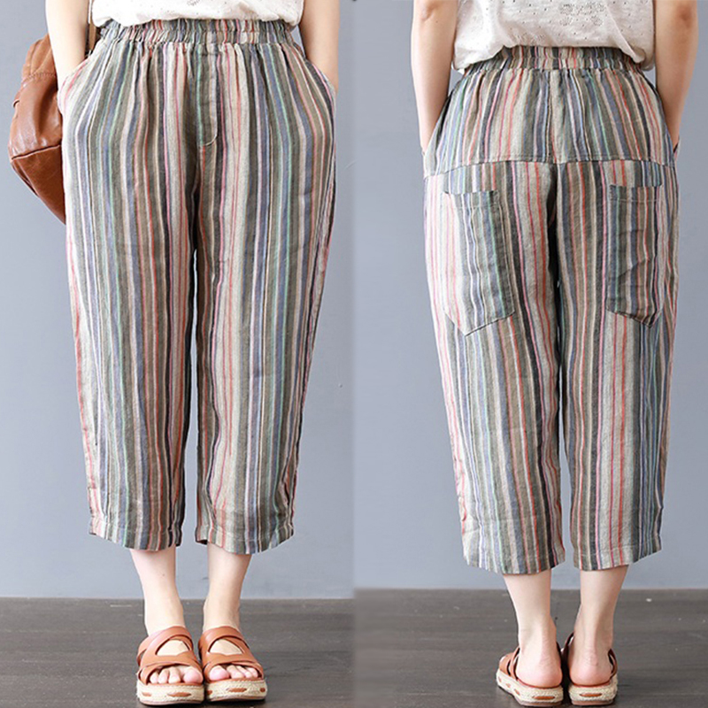 c3a7df1f077ce Details about Plus Women Stripe Print Casual Pants Elastic Waist Harem Pants  Oversize Trousers