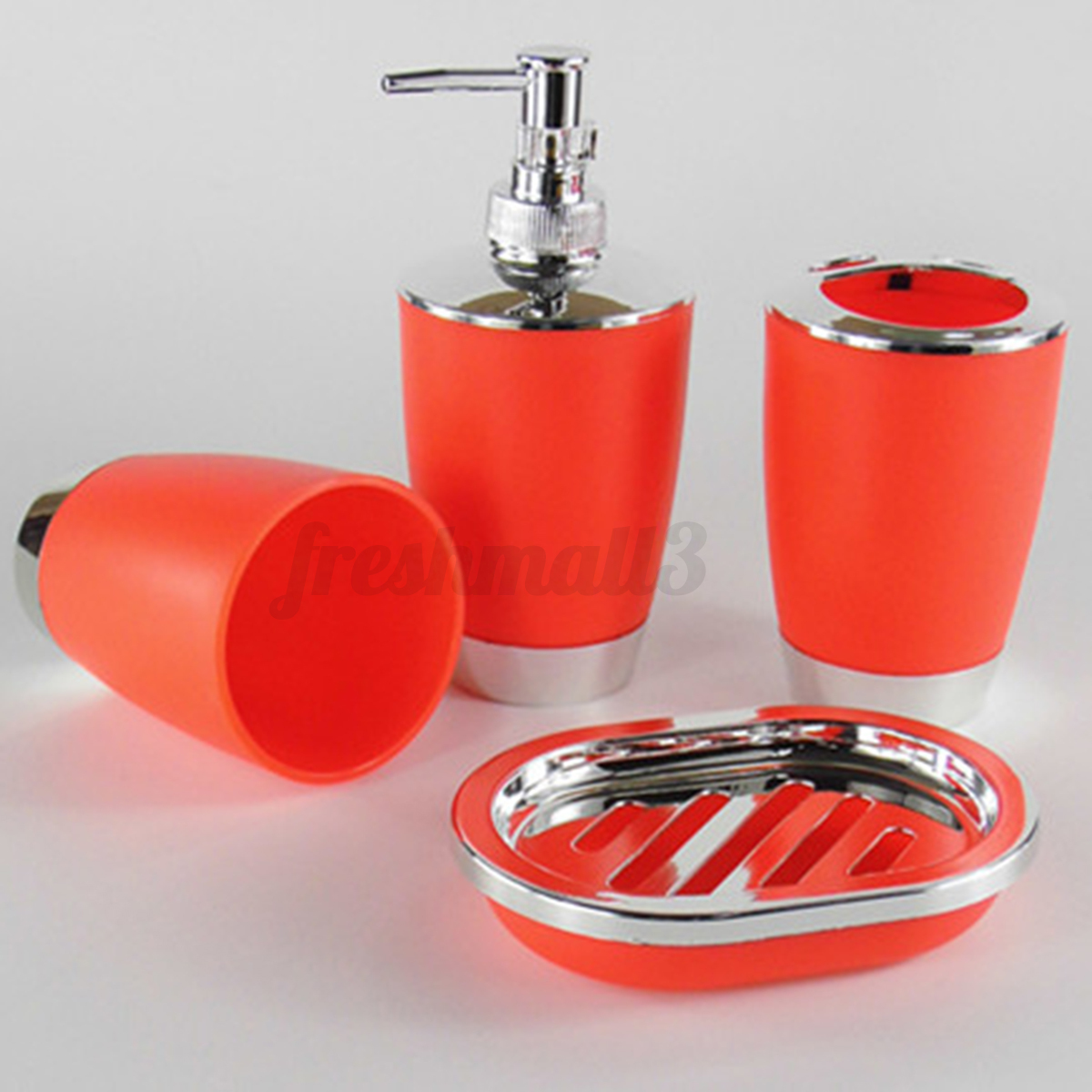 4pcs bathroom suit set kit soap dispenser dish wash gargle for Bathroom soap dispenser set