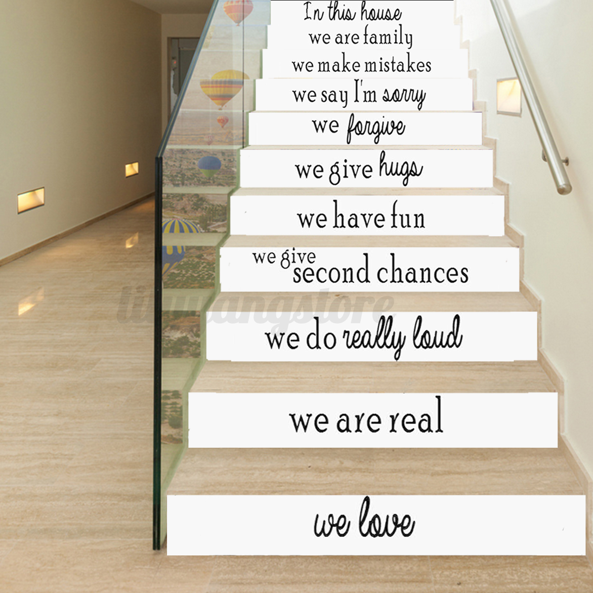 Wallpaper Decals: 3D English Letters Stair Risers Photo Mural Vinyl Decal