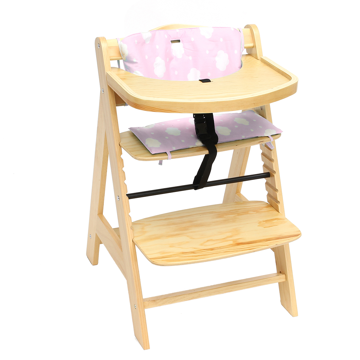 3 in 1 baby wooden high chair convertible table seat feeding tray bar highchair ebay. Black Bedroom Furniture Sets. Home Design Ideas