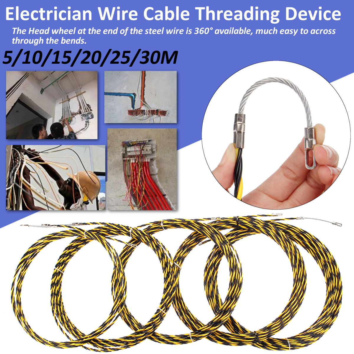 Excellent 5 10 15 20 25 30M Electrician Wire Cable Threading Device Fish Tape Wiring 101 Capemaxxcnl