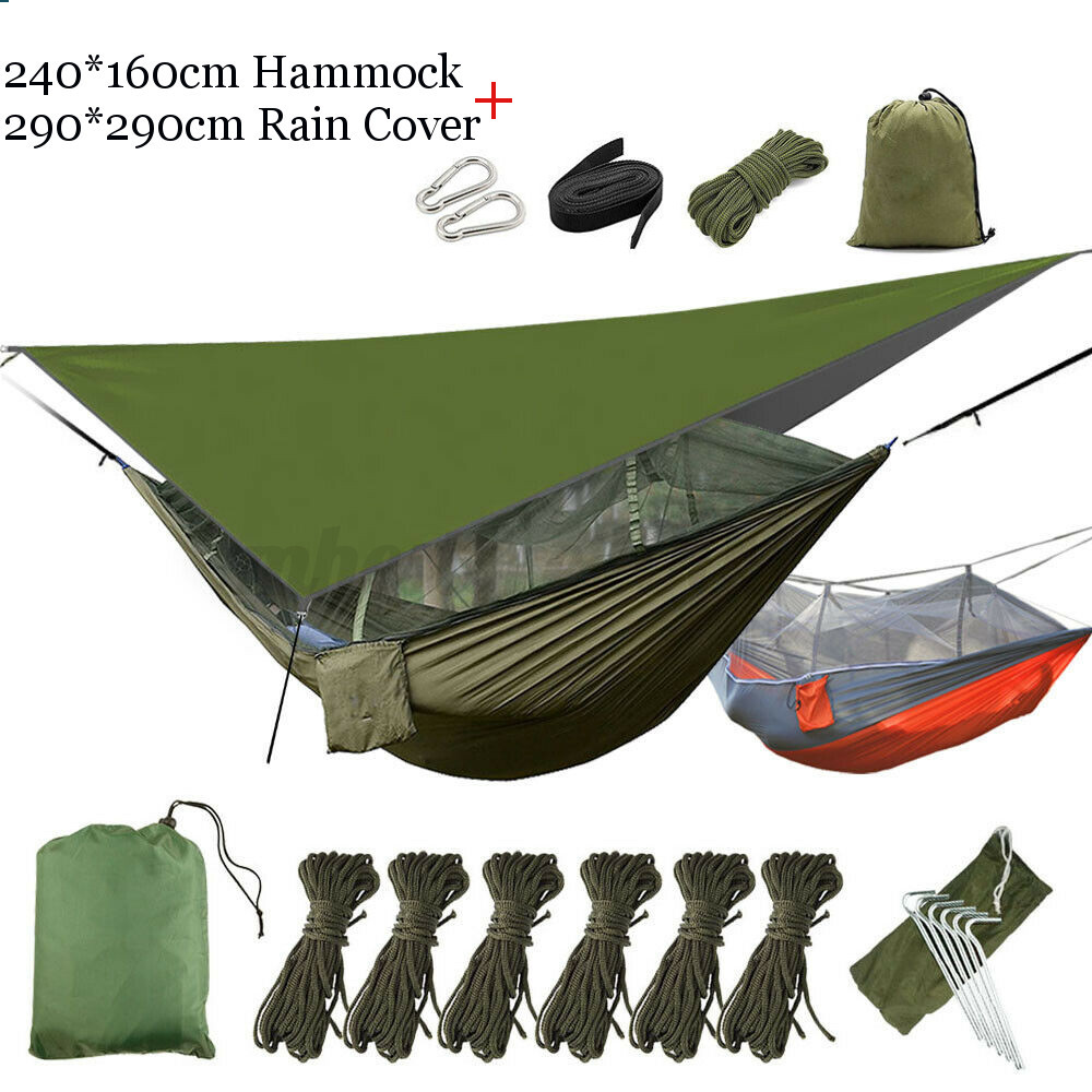 2-Person-Outdoor-Camping-Hammock-With-Mosquito-Net-Mesh-Rain-Fly-Tarp-Cover thumbnail 14