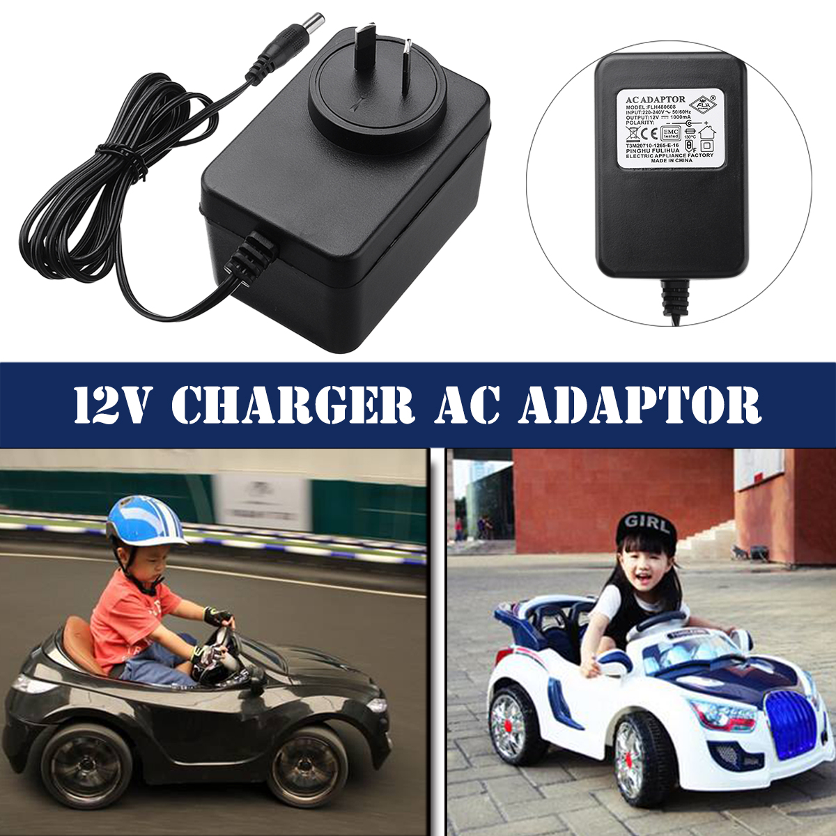 3c8454a2dc4 Details about 12V 1000mA Battery Charger AC Adapter For Kids Electric Ride  On Car Bike Scooter