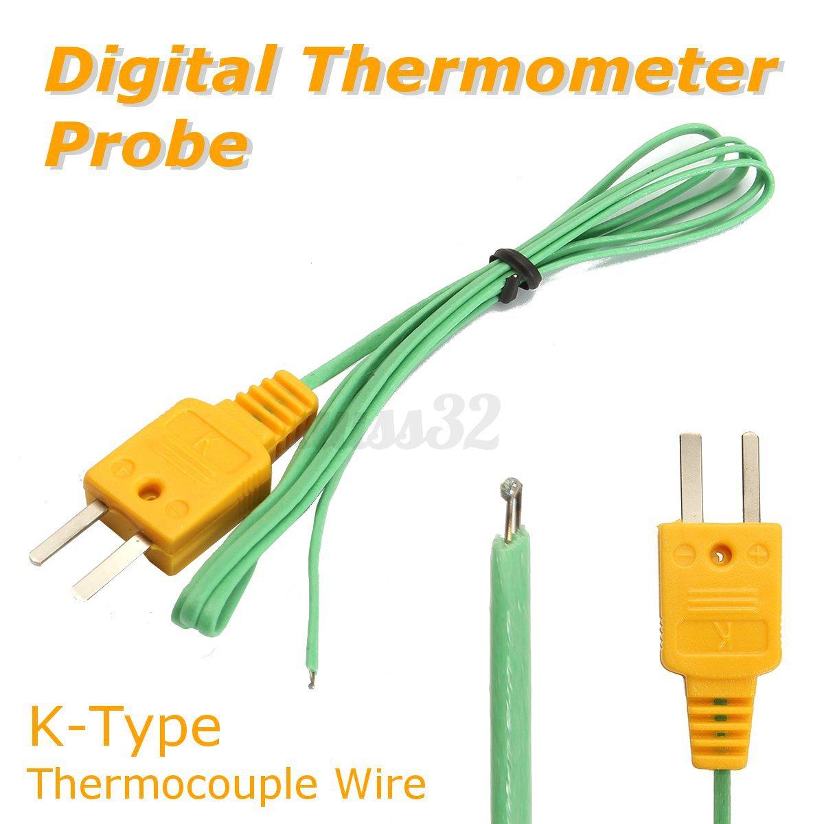 1-10 90cm K-Type Thermocouple Wire Digital Thermometer Temperature ...