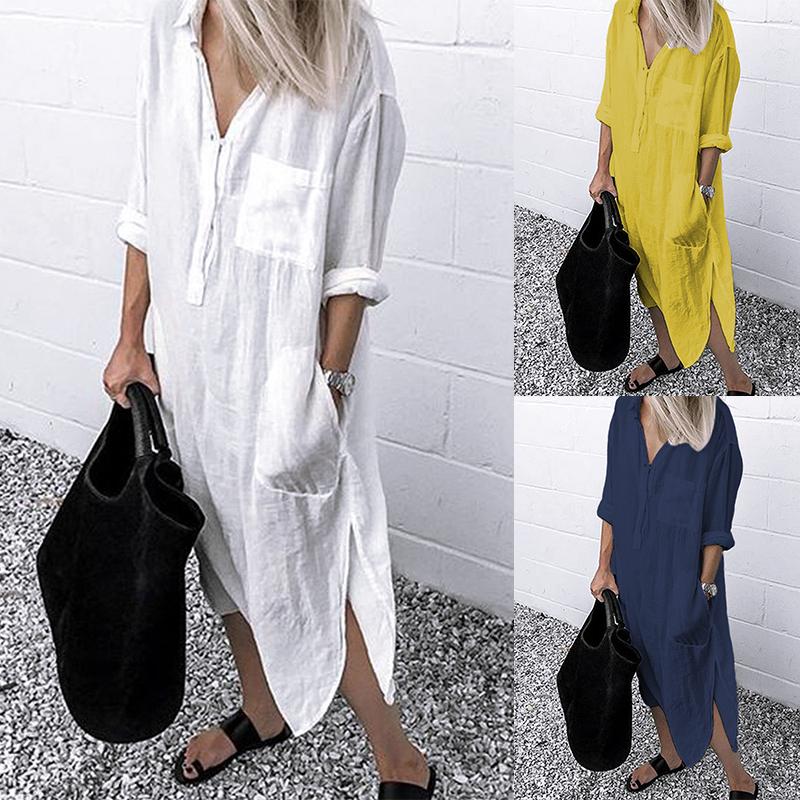 Details about ZANZEA Women Long Sleeve Button Up Shirt Dress Kaftan Loose Baggy Oversized NEW