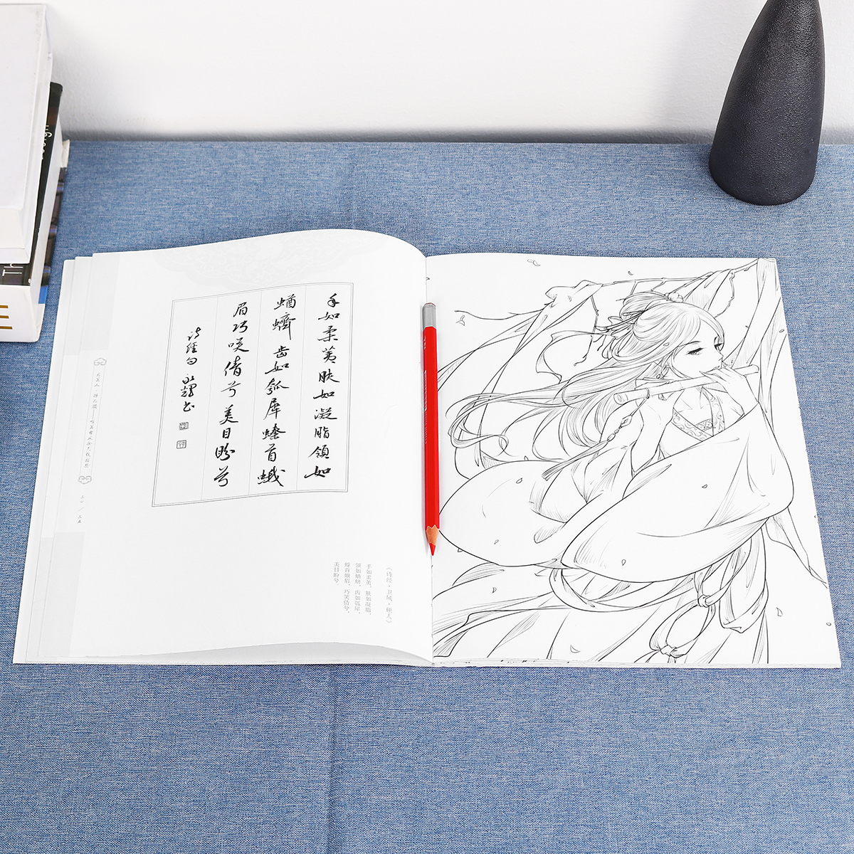 Chinese Ancient Beauty Pencil Sketch Drawing Painting Coloring