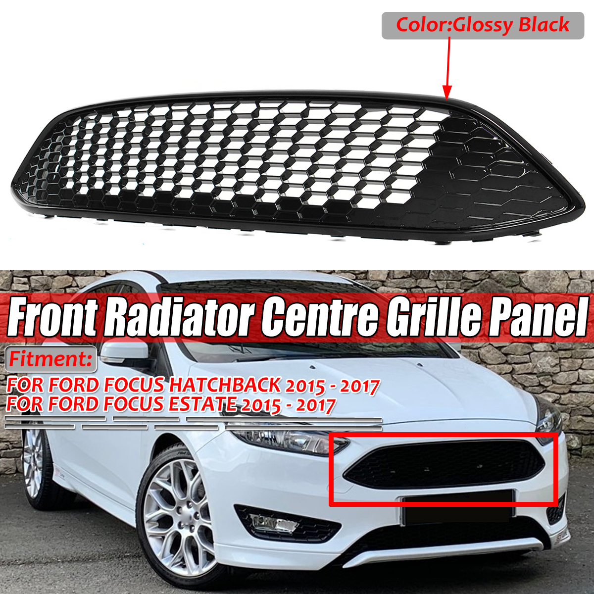 Front Upper Bumper Grille Sports Diamond Mesh Grille with Chrome Trim Honeycomb Style Replacement Fit for 2015-2018 Ford Focus