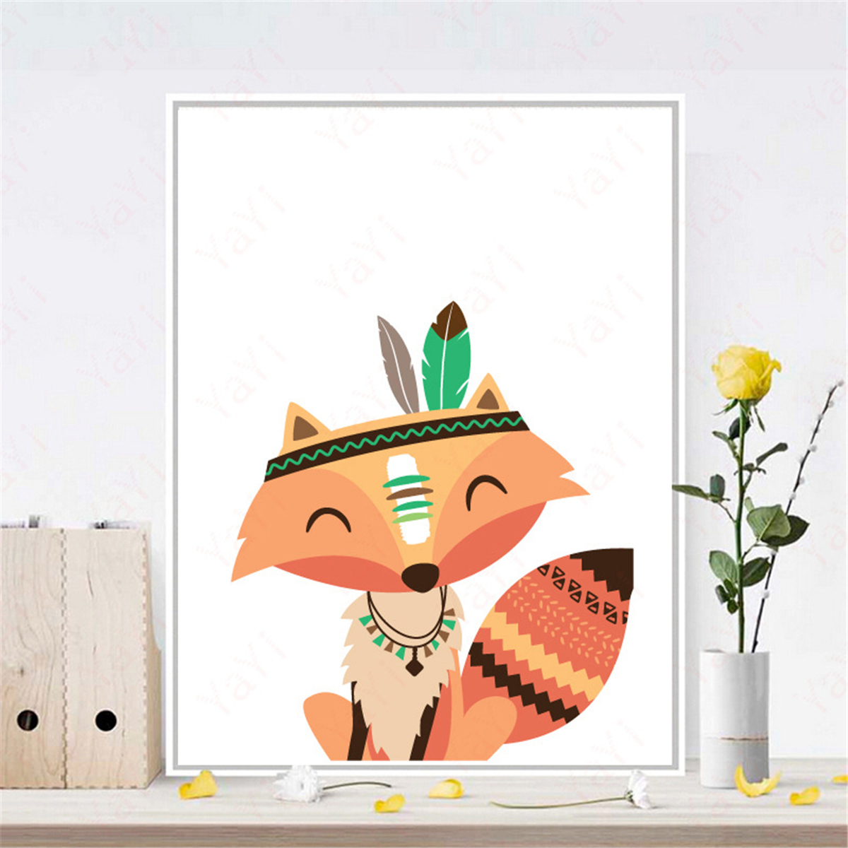 6 Styles Cartoon Animal Canvas Painting Wall Hanging Print Decor For ...