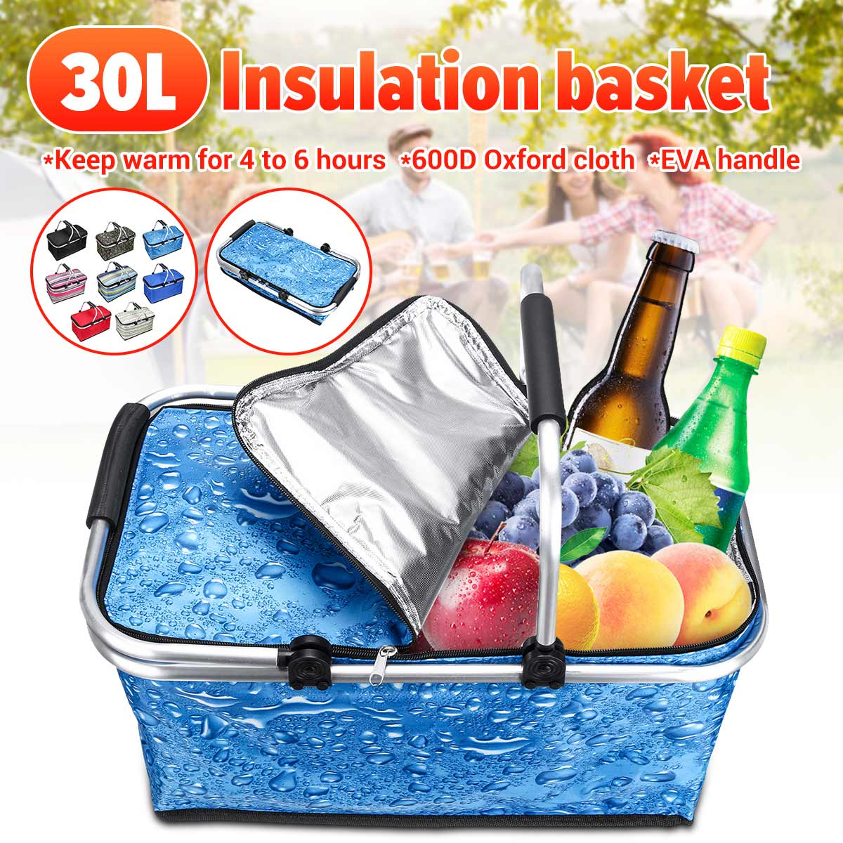 Lightweight Collapsible Cool ❤❤ 30L Folding Insulated Picnic Basket Tote