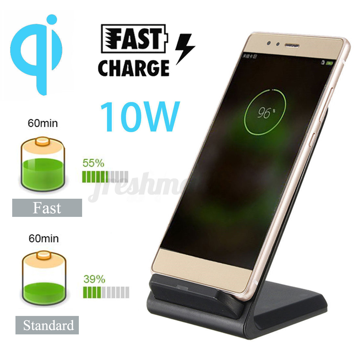 10w qi wireless fast charger charging stand dock cooling. Black Bedroom Furniture Sets. Home Design Ideas