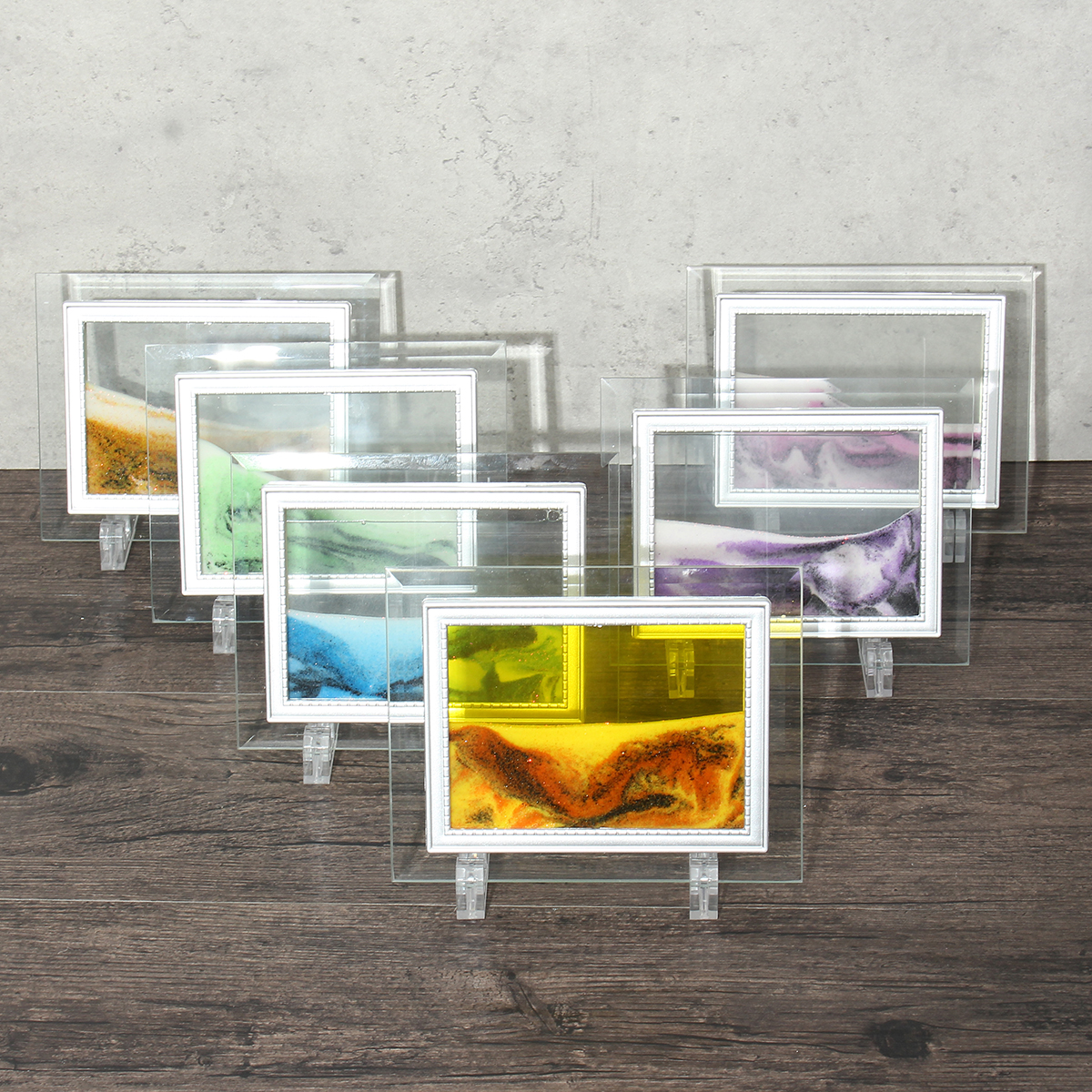 Framed Moving Sand Time Glass Art Picture Home Office Desk Decor Craft 17 X 13cm