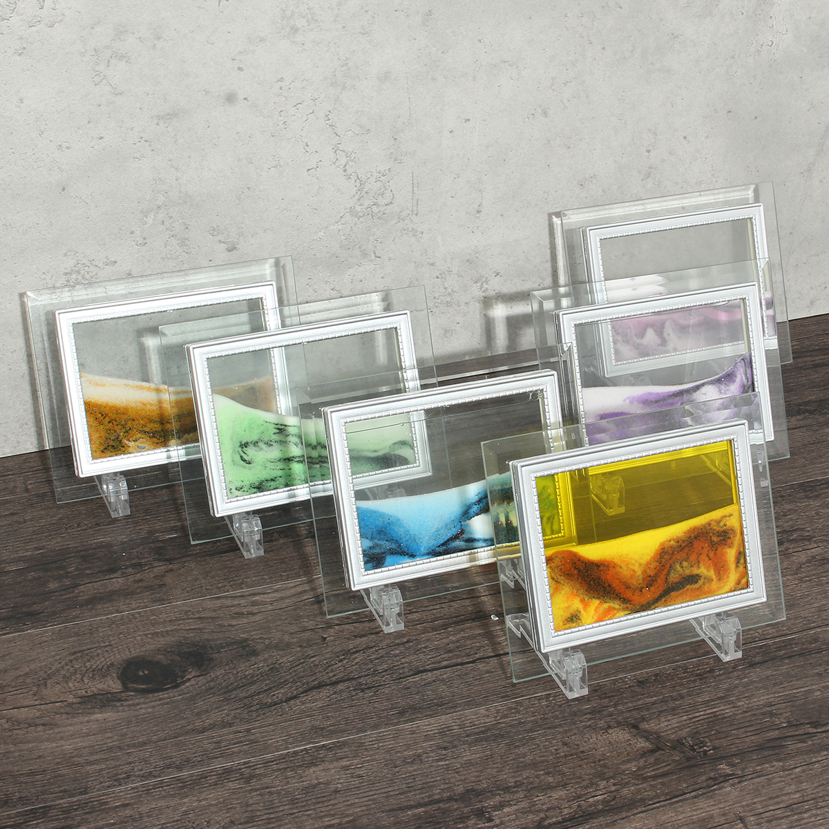 Framed Moving Sand Time Glass Art Picture Home
