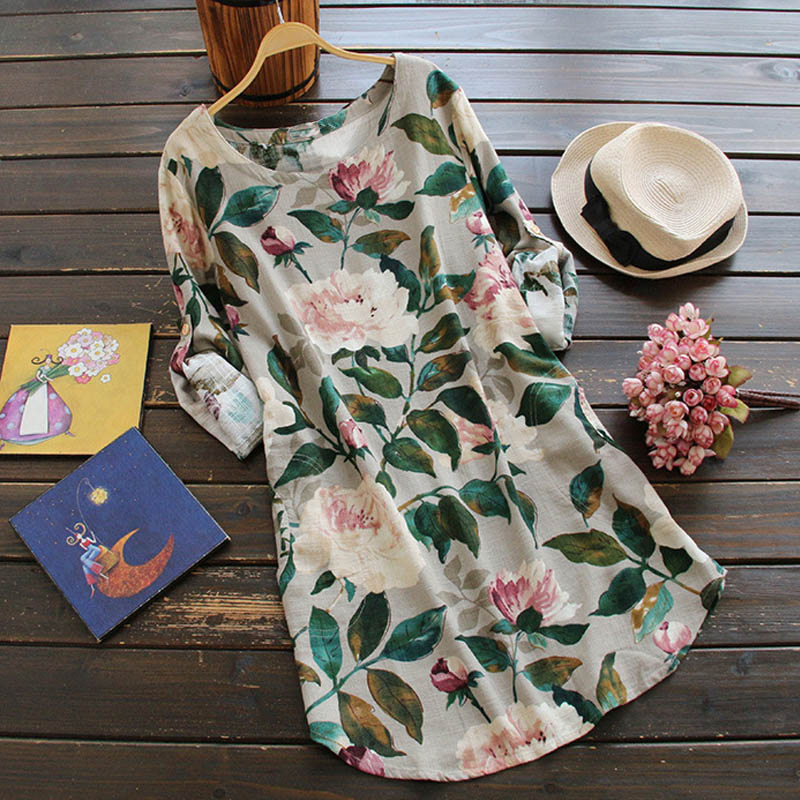 ZANZEA-10-24-Women-Casual-Tunic-Top-Blouse-Sundress-Vintage-Floral-Short-Dress